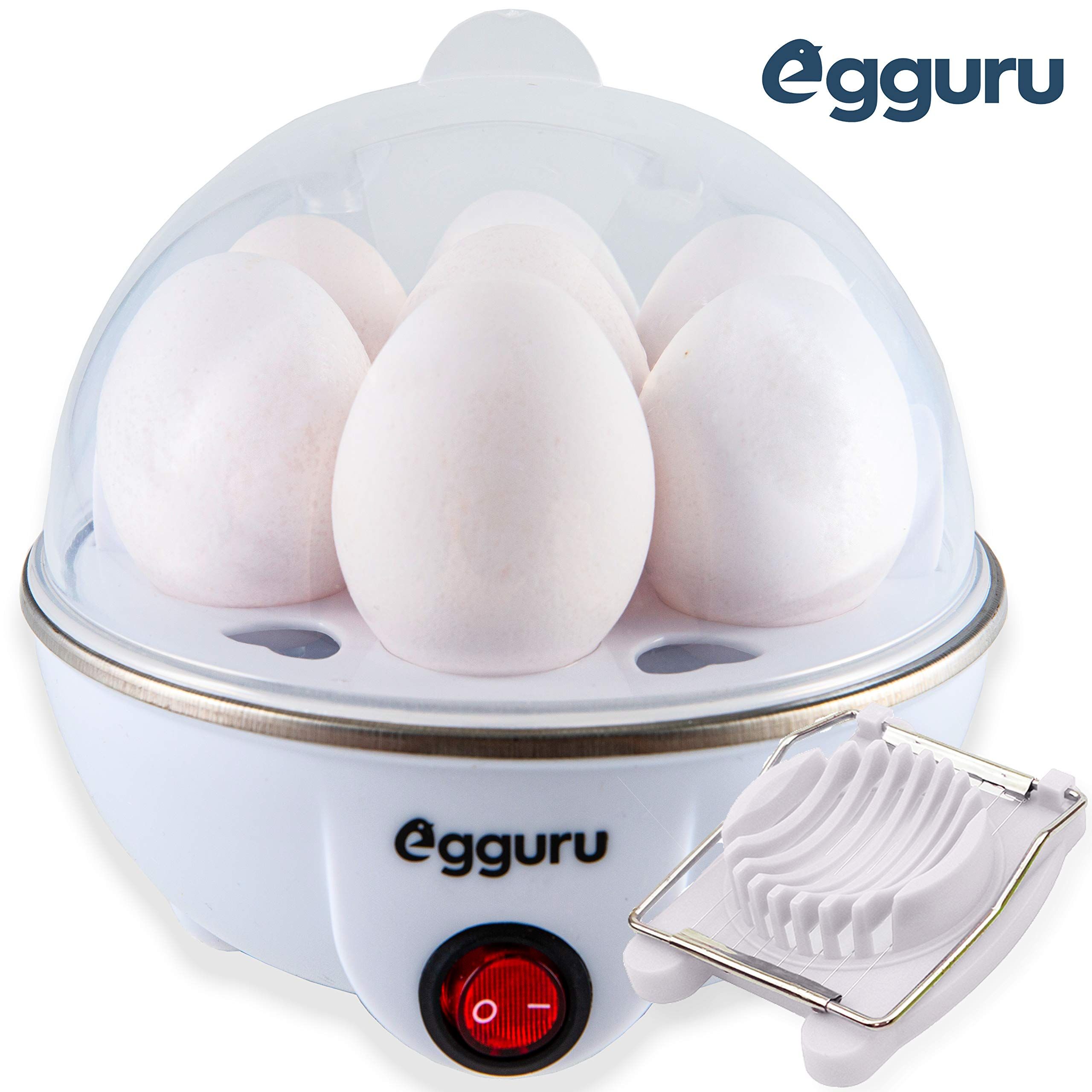 Egguru Electric Egg Cooker Boiler Maker Soft, Medium or Hard Boil, 7 Egg Capacity noise free technology Automatic Shut Off, white with egg slicer included by AE Labs
