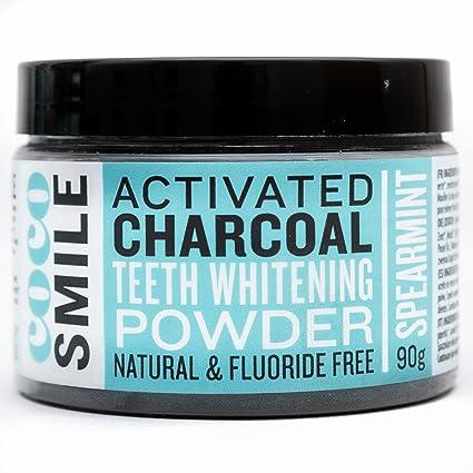 Activated Charcoal Blanqueamiento Dental Coco Smile | 90 g de Polvo de Carbón Activado | Blanqueamiento
