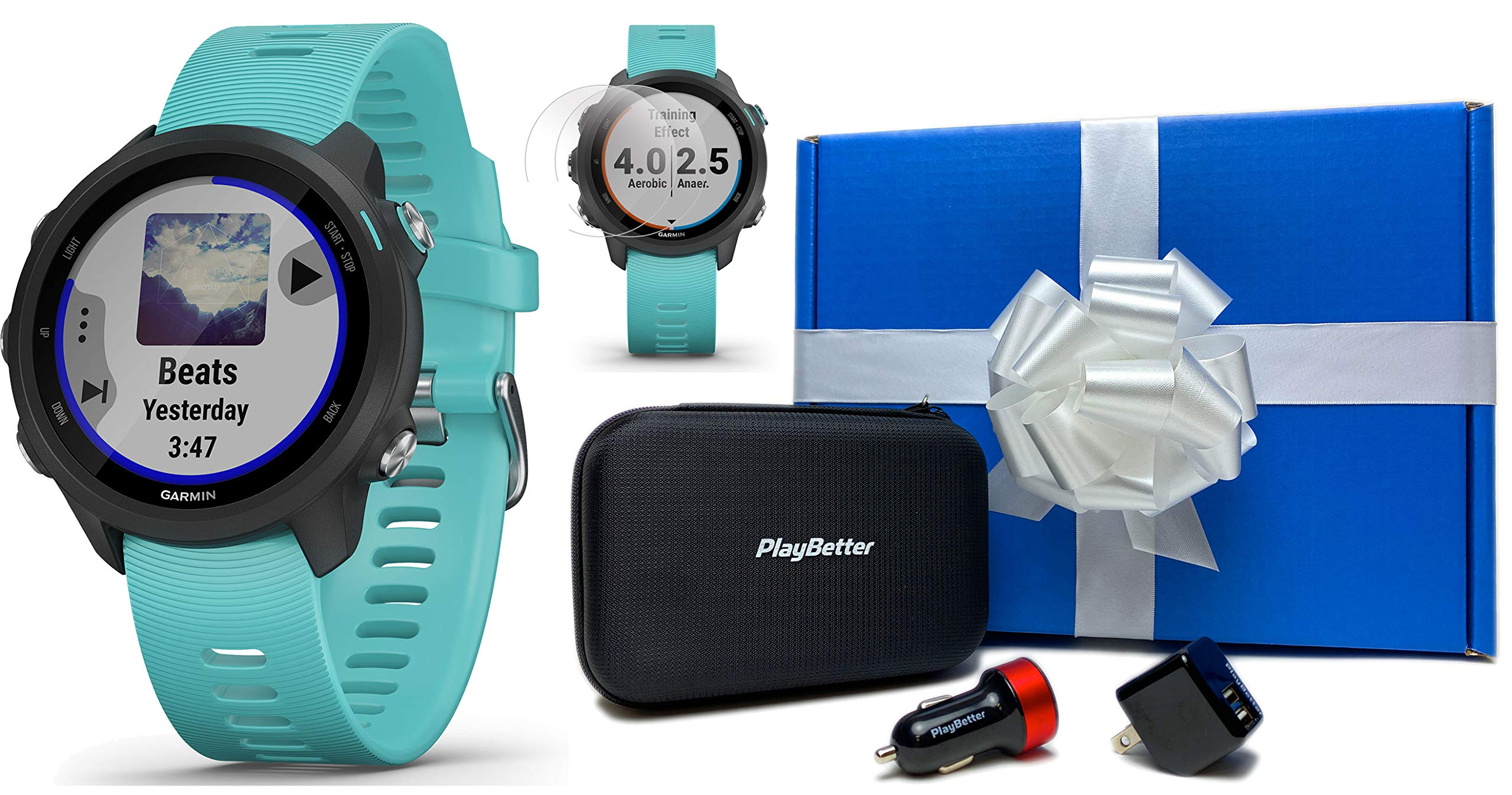 Garmin Forerunner 245 (Berry) Power Bundle   +HD Screen Protectors & PlayBetter Portable Charger   Advanced Analytics…