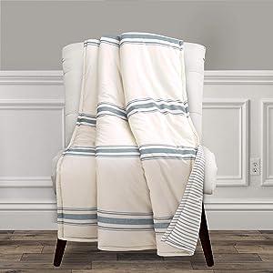 """Lush Decor, Blue Farmhouse Stripe Throw Blanket, 60"""" x 50"""""""