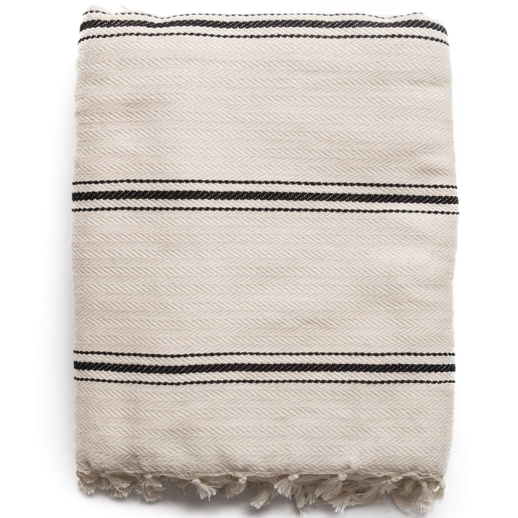 The Loomia Turkish Cotton Blanket - Sophie Boho Series (100% Cotton, 74'' X 82'' Full Size, Cream-Beige Black Stripes)