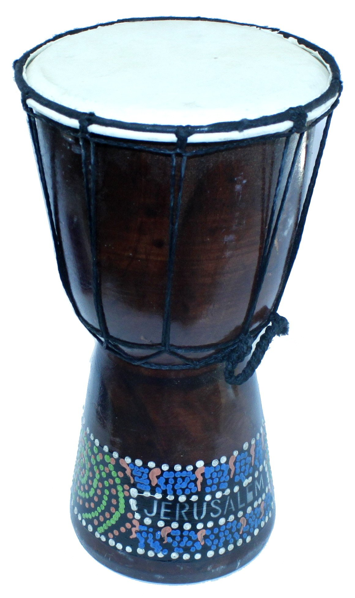 Djembe or Jembe Drum With With colored dots from Jerusalem - Large size (30 cm or 12 Inches high) by Holy Land Market