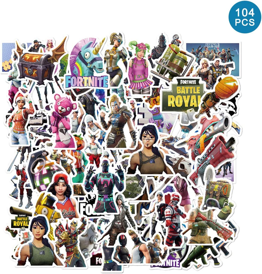 104pcs Fort_nite Stickers - Art Focus Gaming Stickers for Water Bottles Laptops Travel Case
