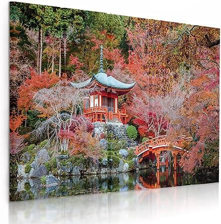 Feeby Frames, Cuadro en Lienzo - 5 Partes - Cuadro impresión, Cuadro decoración, Canvas (JARDÍN JAPONÉS, Rojo) 200x100 cm, Tipo C: Amazon.es: Hogar
