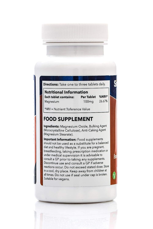 Magnesio 100 mg - 360 comprimidos- Hasta 6 meses de suministro - SimplySupplements: Amazon.es: Salud y cuidado personal