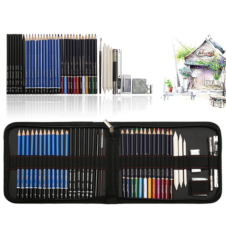 41 kit da disegno professionale con disegni a matita, matite acquerellabili, grafite matita Strumento di disegno in astuccio grande, miglior regalo di disegno per artisti, studenti, bambini TvFly