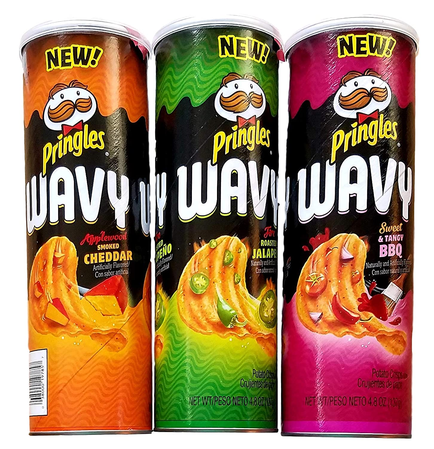 Pringles Wavy - Applewood Smoked Cheddar, Fire Roasted Jalapeno, Sweet & Tangy BBQ - 4.8 Oz Each - Variety Bundle of 3