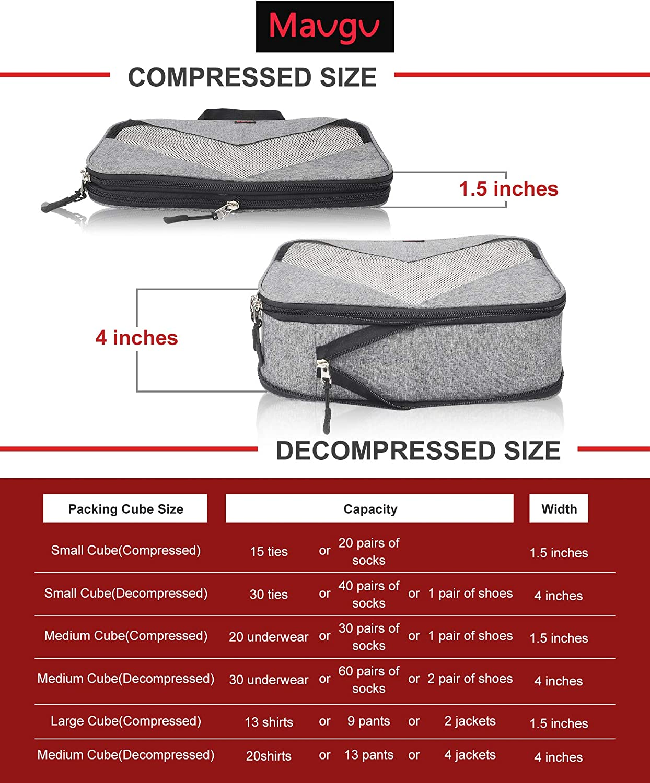 grey, One/_Size Compression Packing Cubes Travel Luggage Suitcase Organizer 3 Set