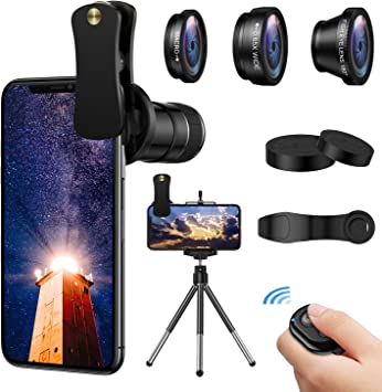 0.65 Wide Angle+ Macro Lens,ARORY Smartphone Lens with Tripod+Shutter Remote for iPhone 8 7 6 Plus 180/° Fisheye 4 in 1 Phone Camera Lens Kit,12X Telephoto Lens Samsung