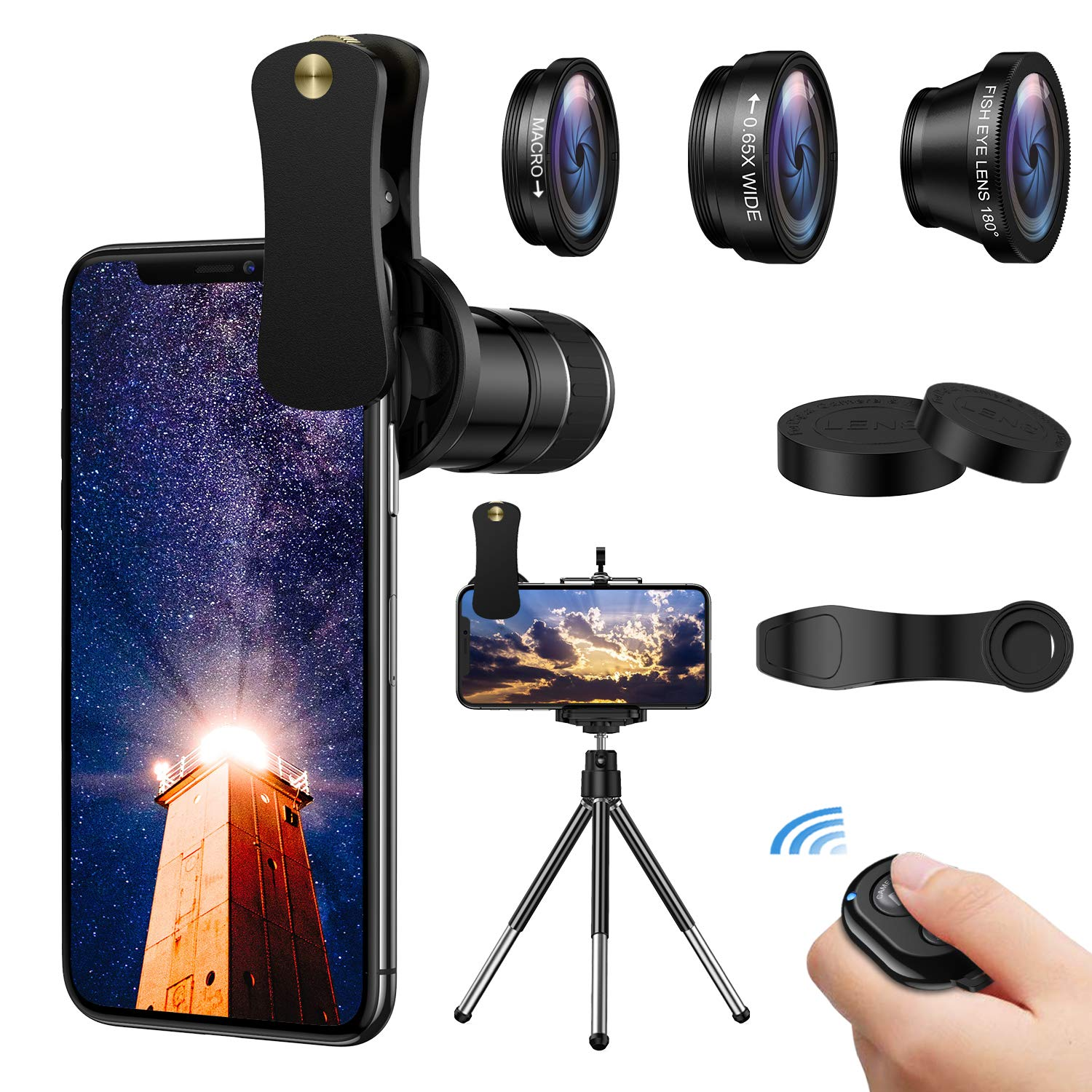 4 in 1 Phone Camera Lens Kit,12X Telephoto Lens + 180° Fisheye + 0.65 Wide Angle+ Macro Lens,ARORY Smartphone Lens with Tripod+Shutter Remote for iPhone 8 7 6 Plus, Samsung by ARORY