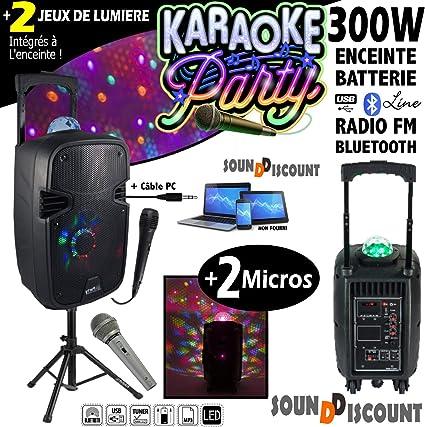 Karaoke Pack 300 W altavoz Mobile party-7astro + pie + 2 micros + ...