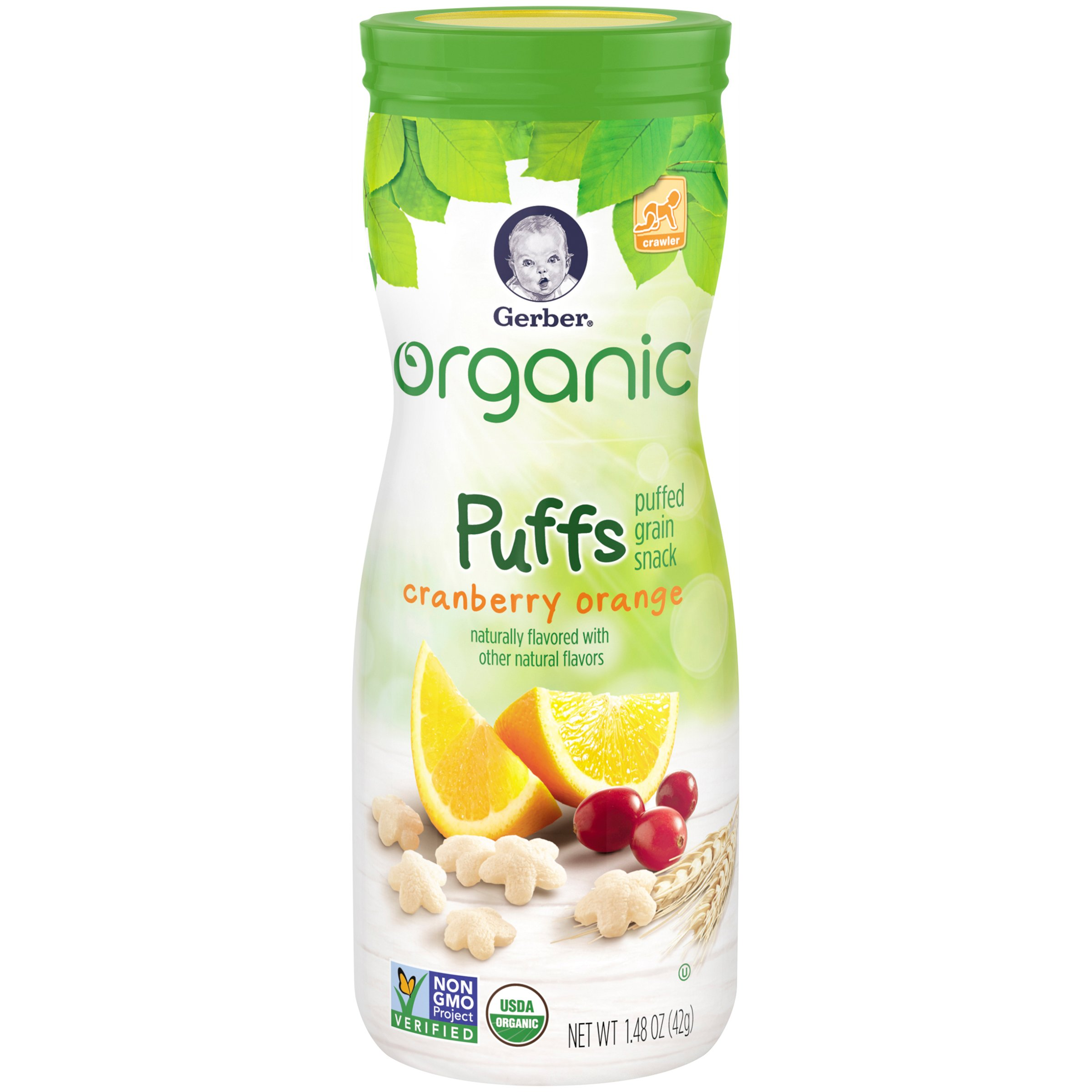 Gerber Organic Puffs Cereal Snack, Apple, Naturally