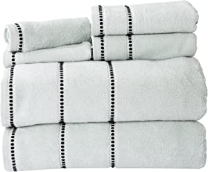 Luxury Cotton Towel Set- Quick Dry, Zero Twist and Soft 6 Piece Set With 2 Bath Towels, 2 Hand Towels and 2 Washcloths By Lavish Home (Seafoam/Black)
