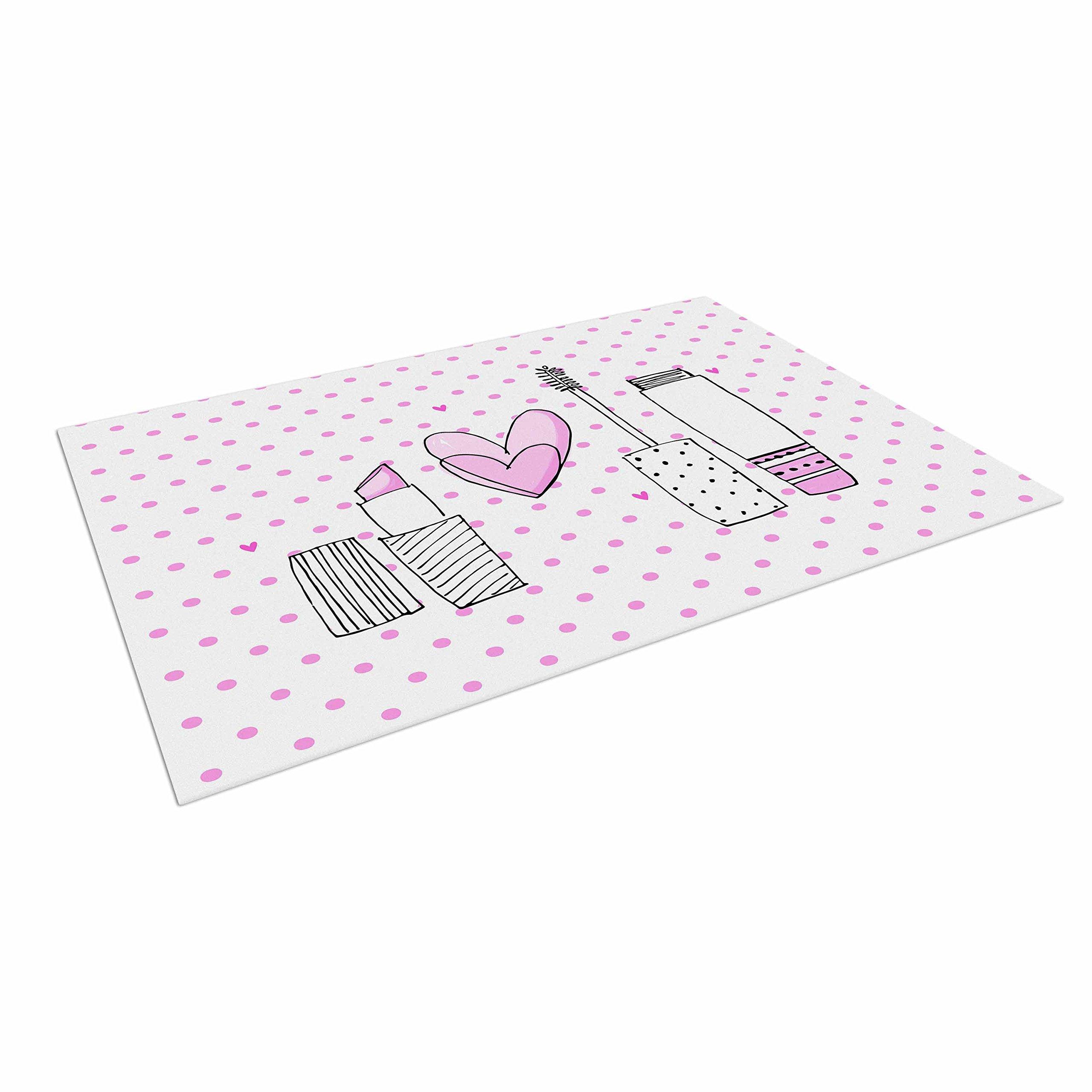 KESS InHouse Majobv ''Girls Luv'' Pink Makeup Outdoor Floor Mat, 4' x 5'
