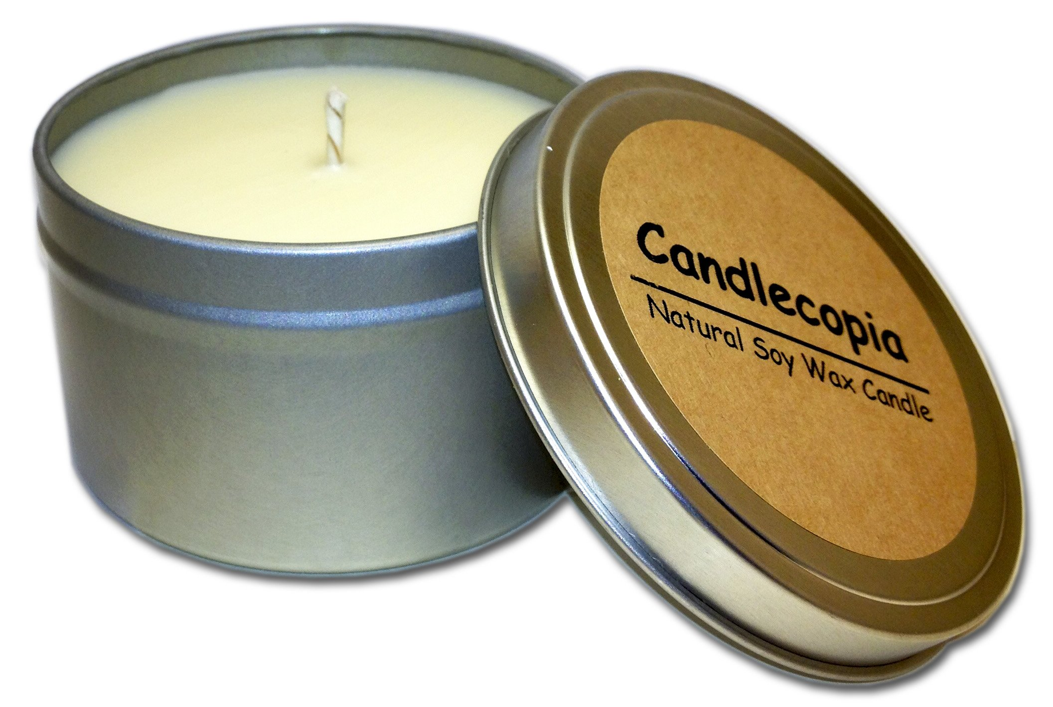 Candlecopia Beach Linen Strongly Scented Sustainable Vegan Natural Soy Travel Tin Candle