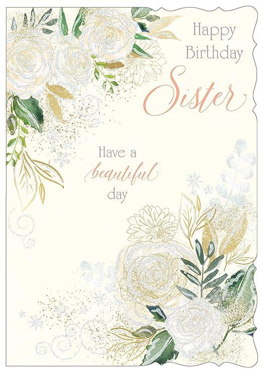 Oro Tarjeta de felicitación de cumpleaños para hermana ...
