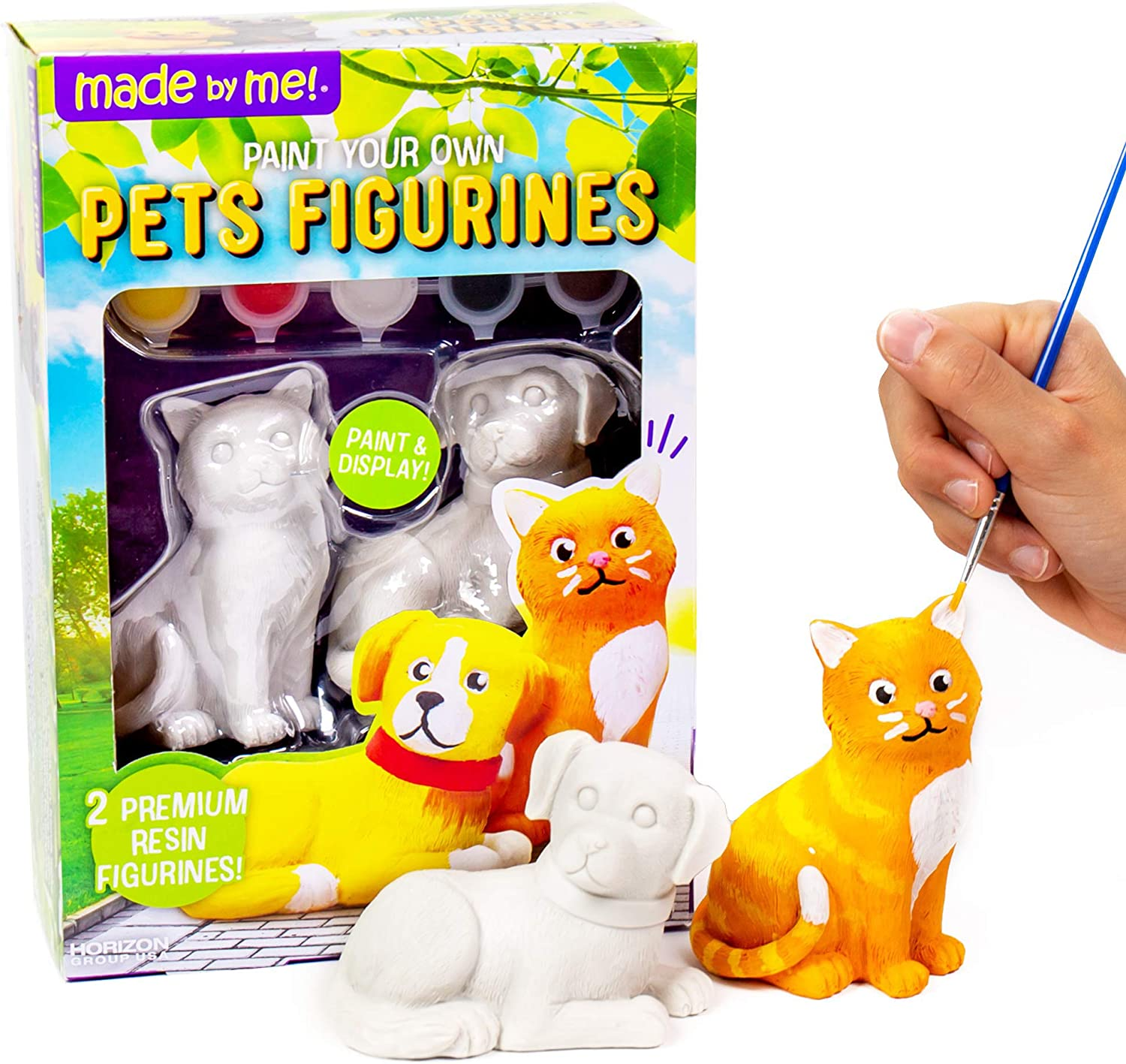 Made By Me Pets Figurines 2 Resin Paintables by Horizon Group USA, Cat & Dog, Acrylic Paints & Brush Included