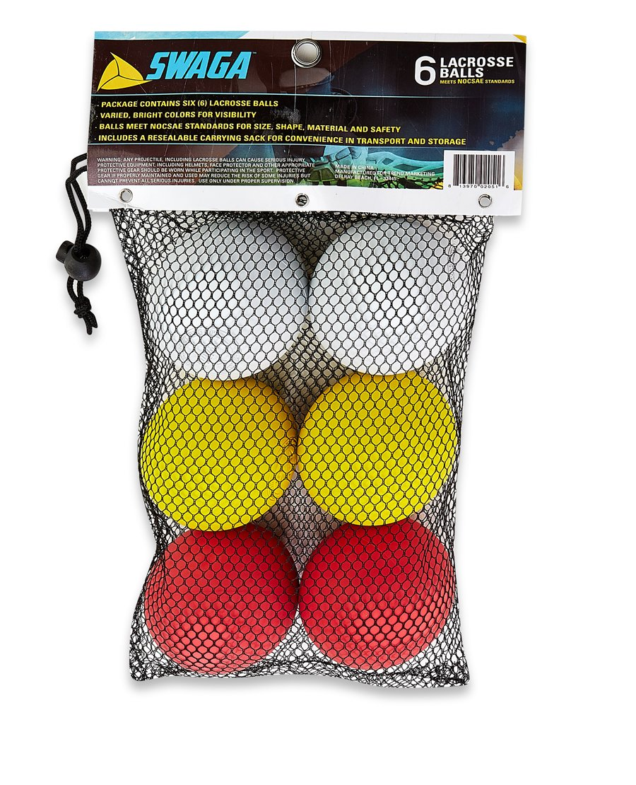 SWAGA - MULTI-COLORED 100% RUBBER - Lacrosse Balls NOCSAE - NCAA- NFHS OFFICIAL CERTIFIED - 6 LACROSSE BALLS (Red Yellow & White, ) WITH CARRY BAG by SWAGA (Image #2)