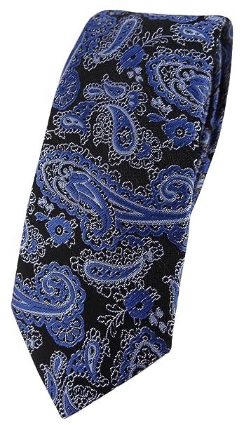 TigerTie - Corbata - Paisley - para hombre blau schwarz silber ...