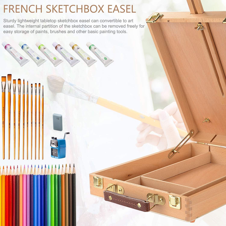 Great for Drawing Painting Portable Wooden Artist Desktop Case LIVINGbasics/™ Adjustable Wood Table Sketchbox Easel Premium Beechwood
