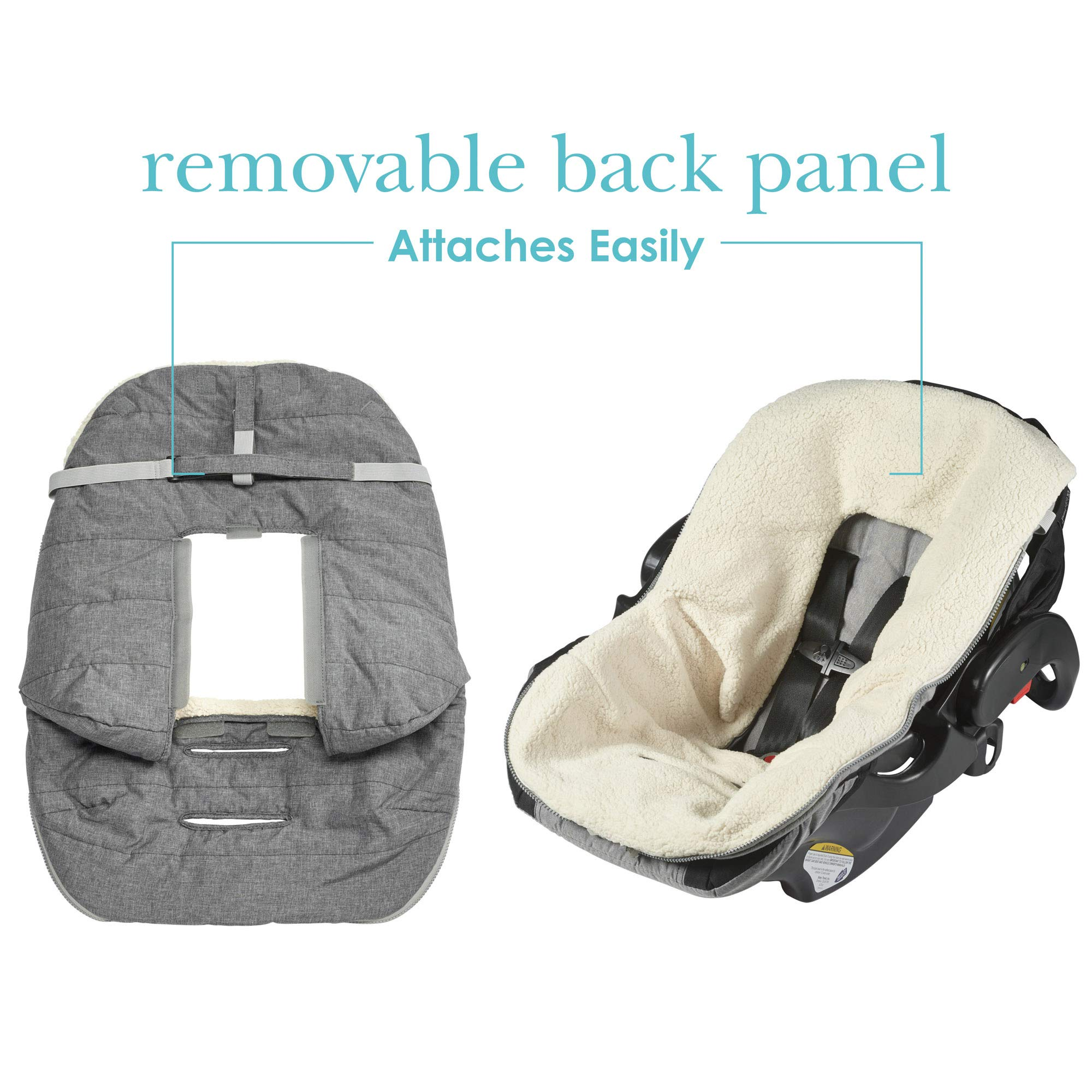 JJ Cole - Urban Bundleme, Canopy Style Bunting Bag to Protect Baby from Cold & Winter Weather in Car Seats & Strollers, Graphite, Infant by JJ Cole (Image #4)