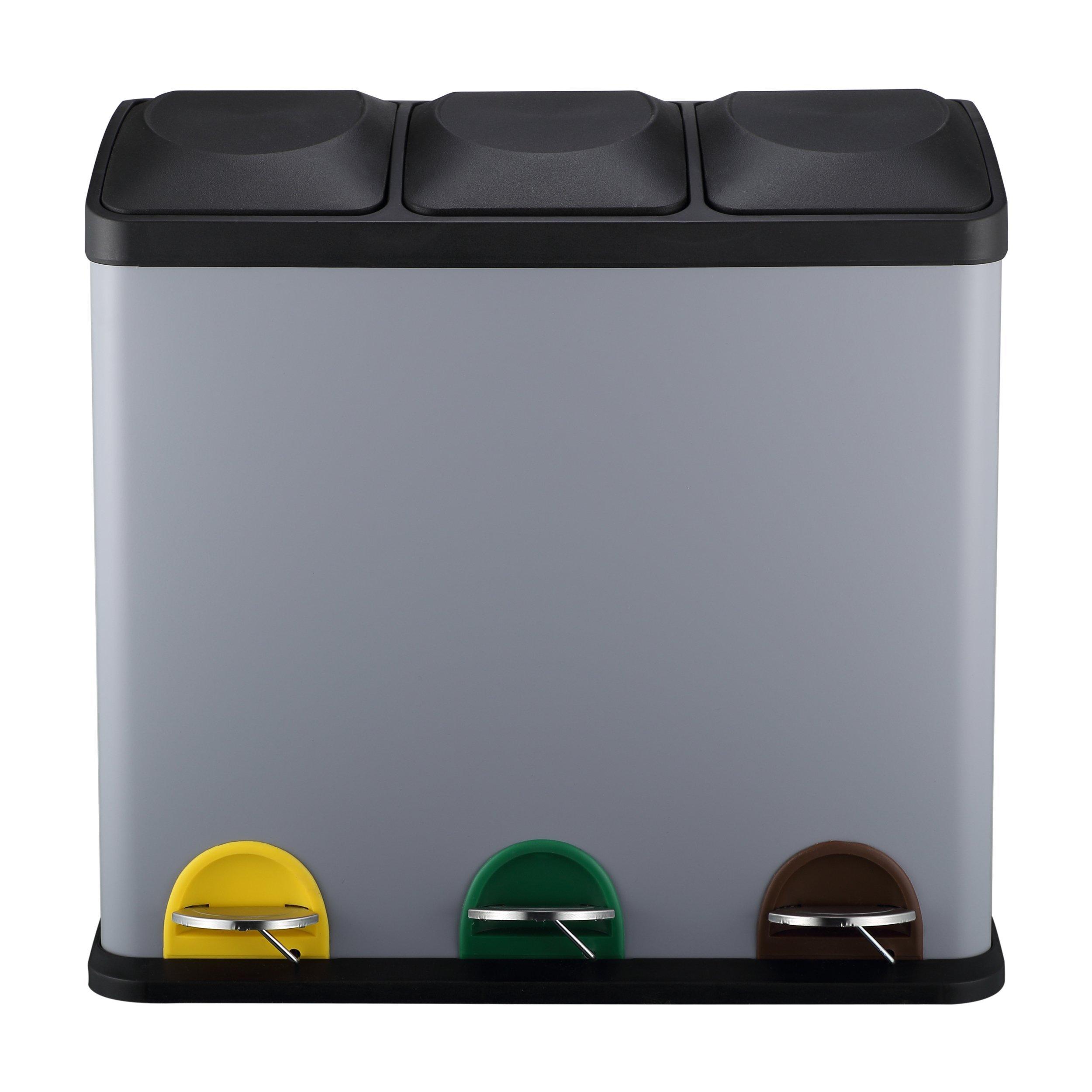 MARI HOME Poubelle Triple Grande Taille   54L (18L X 3) Bac de Recyclage en Acier avec 3 Compartiments   Idéale pour la Cuisine, le Bureau & la Maison   Poubelle avec Pédale & Bacs Intérieurs   Matt Gris product image