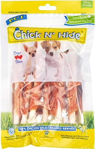 Pet Center, Inc. PCI Chick N Hide Chicken Breast Wrapped Rawhide Dog Treats, 5 Inch Sticks, 6 Piece Pack