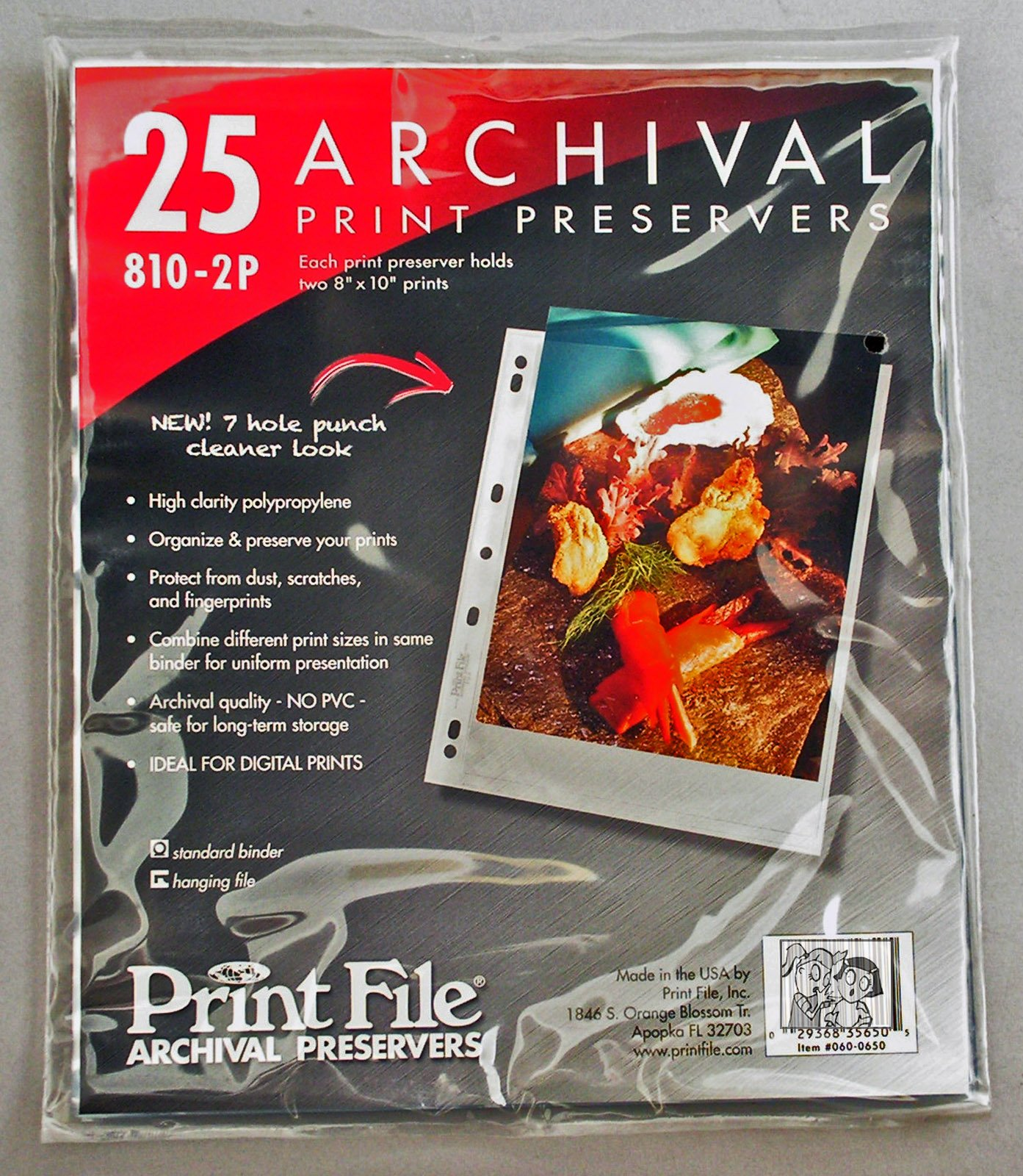 8x10 Pack of 25 Print File Archival 7 Hole Punch Album Pages by Print File