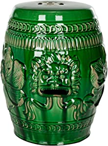 Safavieh Chinese Dragon Ceramic Decorative Garden Stool, Green