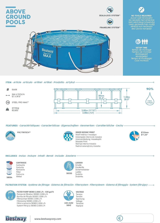 Bestway Steel Pro Max Cadre Rond avec Cadre en Acier et Pompe /à Filtre Bleu 366 x 366 x 100 cm