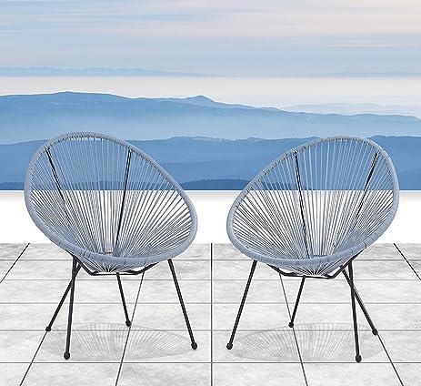 Century Modern Outdoor All Weather Wicker Indoor/Outdoor Round Lounge Chair  Set Of 2