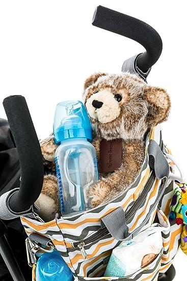 Bolso cambiador, 10 bolsillos, perfecto para viajar con pañales, botellas, toallitas húmedas, baberos y ropa con correas de hombro y cochecito, ...