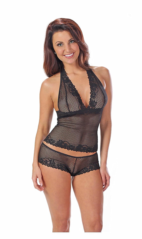 Escante Women's Halter Cami Set with Free Satin Hanger Black Small/Medium Escante Inc 53094