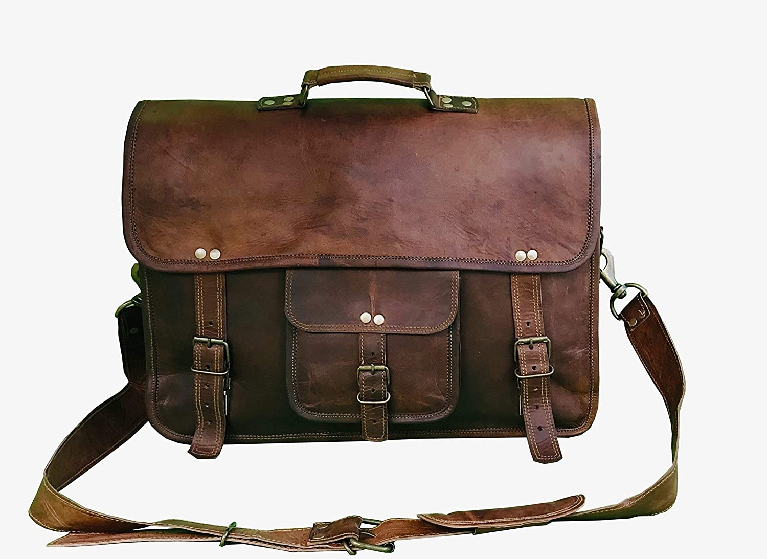 18 Inch Leather Messenger BagVintage Handmade for BriefcaseLaptopBest Computer Satchel School