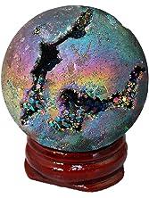 SUNYIK Rainbow Titanium Coated Druzy Geode Sphere Ball,Crystal Quartz Agate Gemstone Ball,Sculpture Figurine Healing