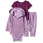 Hanes Ultimate Baby Flexy Knit Jogger with Hoodie and Short Sleeve Crew Set, Purple Stripe 6-12 Months
