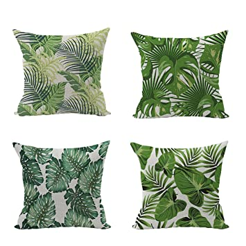 coussin tropical Hoomall Lot de 4 Tropical Feuilles Housses de Coussin Decoratif  coussin tropical