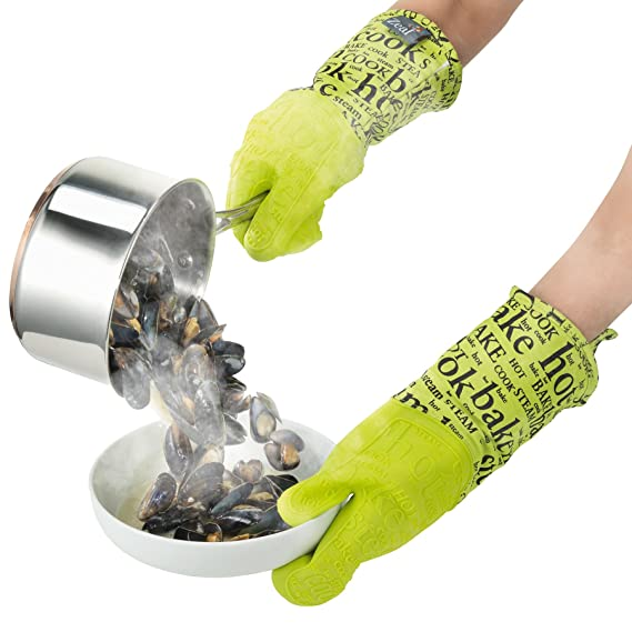 V126L by Zeal @ WOWOOO Single Lime Green Silicone Steam Stop Waterproof GAUNTLET Glove Hot Print Design