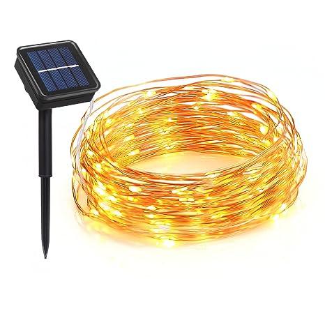 lighting mall outdoor solar string lights waterproof 100 leds 33 feet 8 modes solar christmas - Solar Christmas Lights Amazon