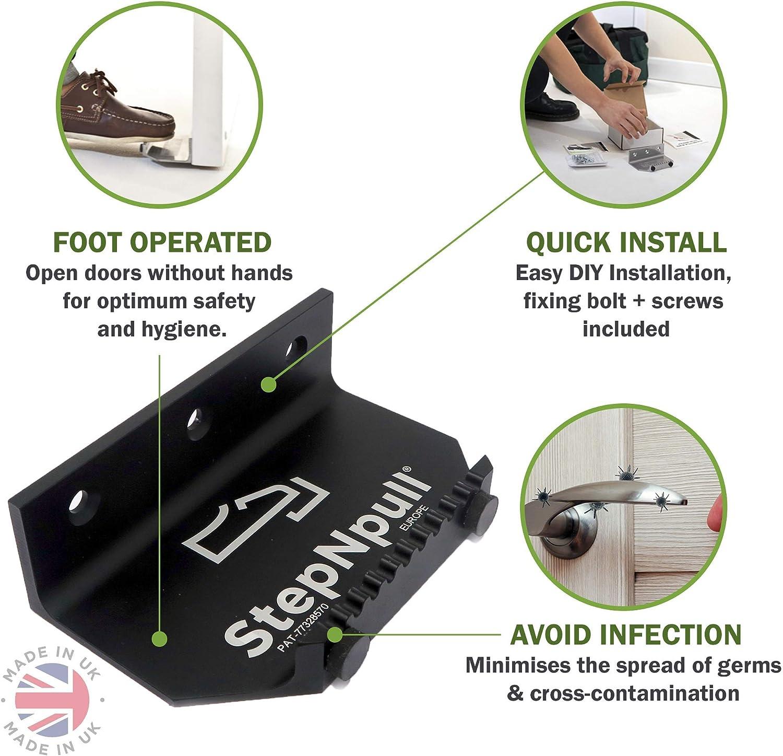 sin contacto y manos libres Abridor de puerta con pie negro seguro StepNpull