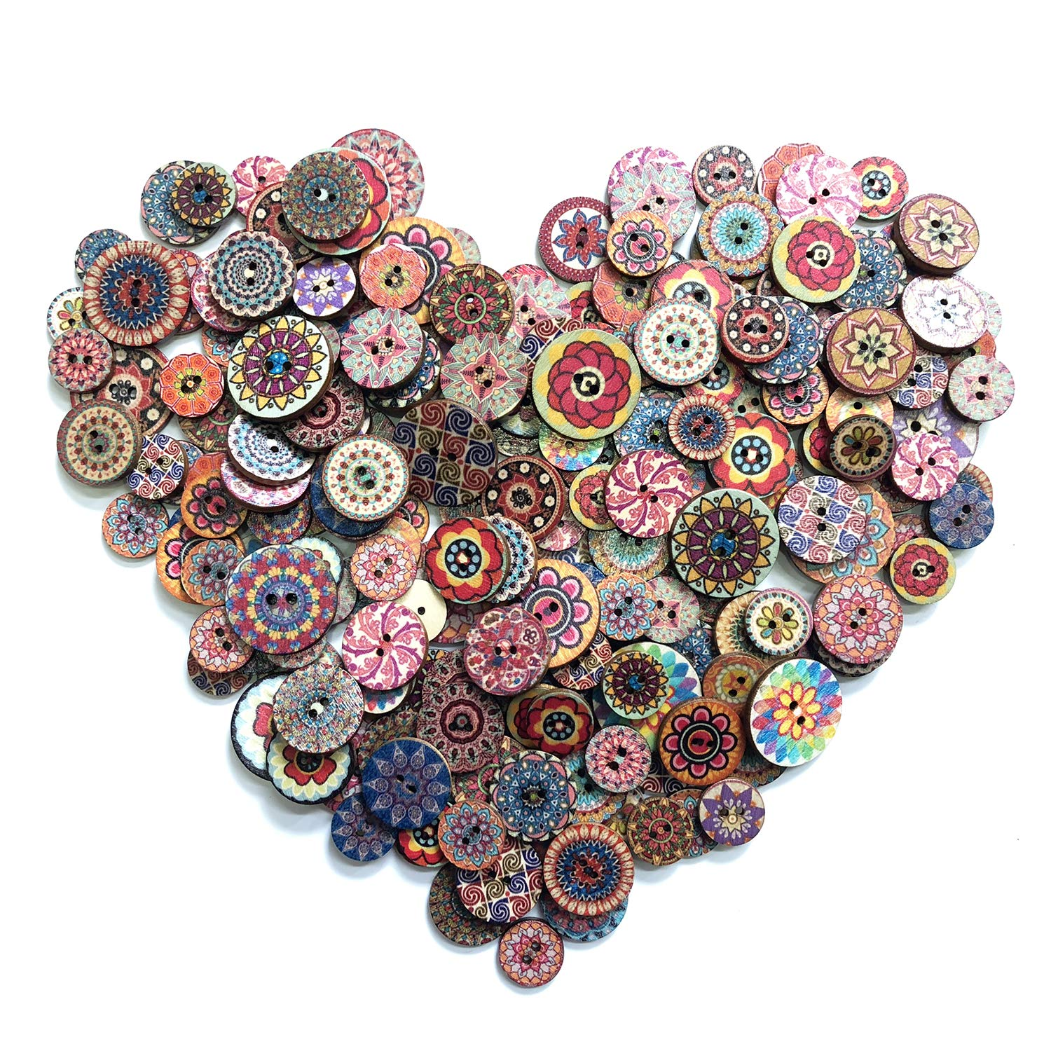 DYLLGL 500 Pieces Wood Buttons, 2 Holes Round Flower Buttons Vintage Buttons for DIY Sewing Craft Decorations