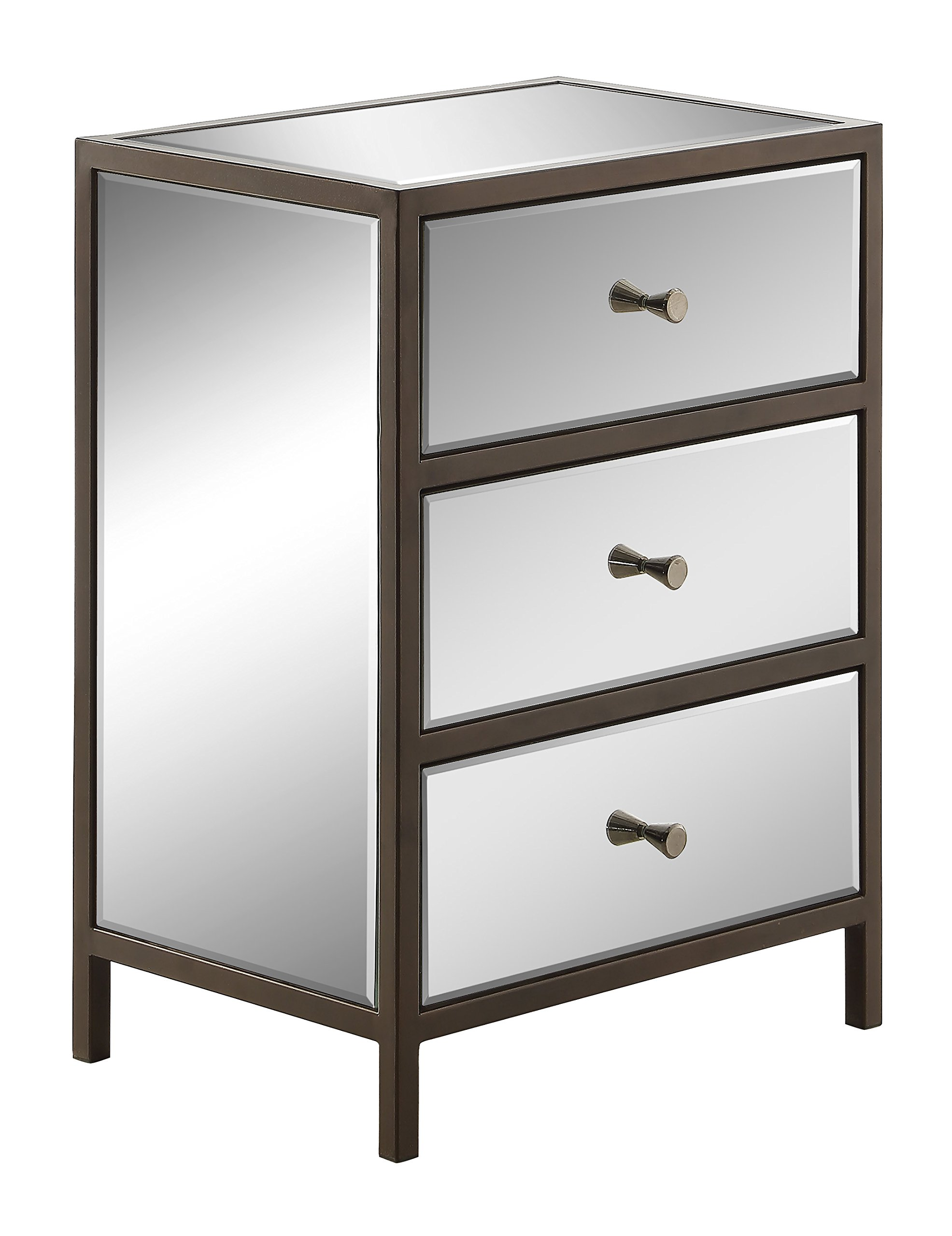 Office Star Marquis 3-Drawer Storage Cabinet with Mirror Surfaces