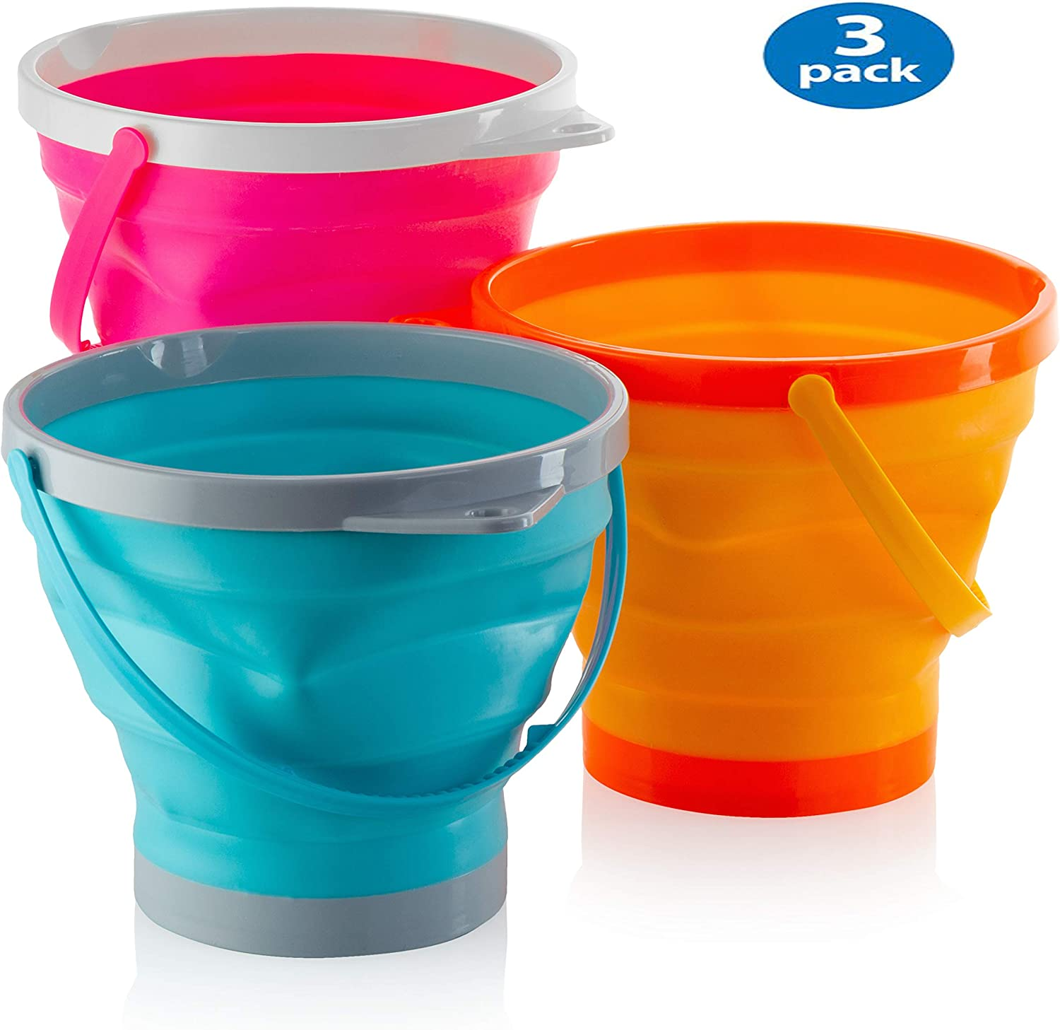 Large Foldable Pail Bucket Collapsible Buckets Multi Purpose for Beach, Camping Gear Water and Food Jug, Dog Bowls, Cats, Dogs and Puppys, Camping and Fishing Tub (1.5 Gallons)