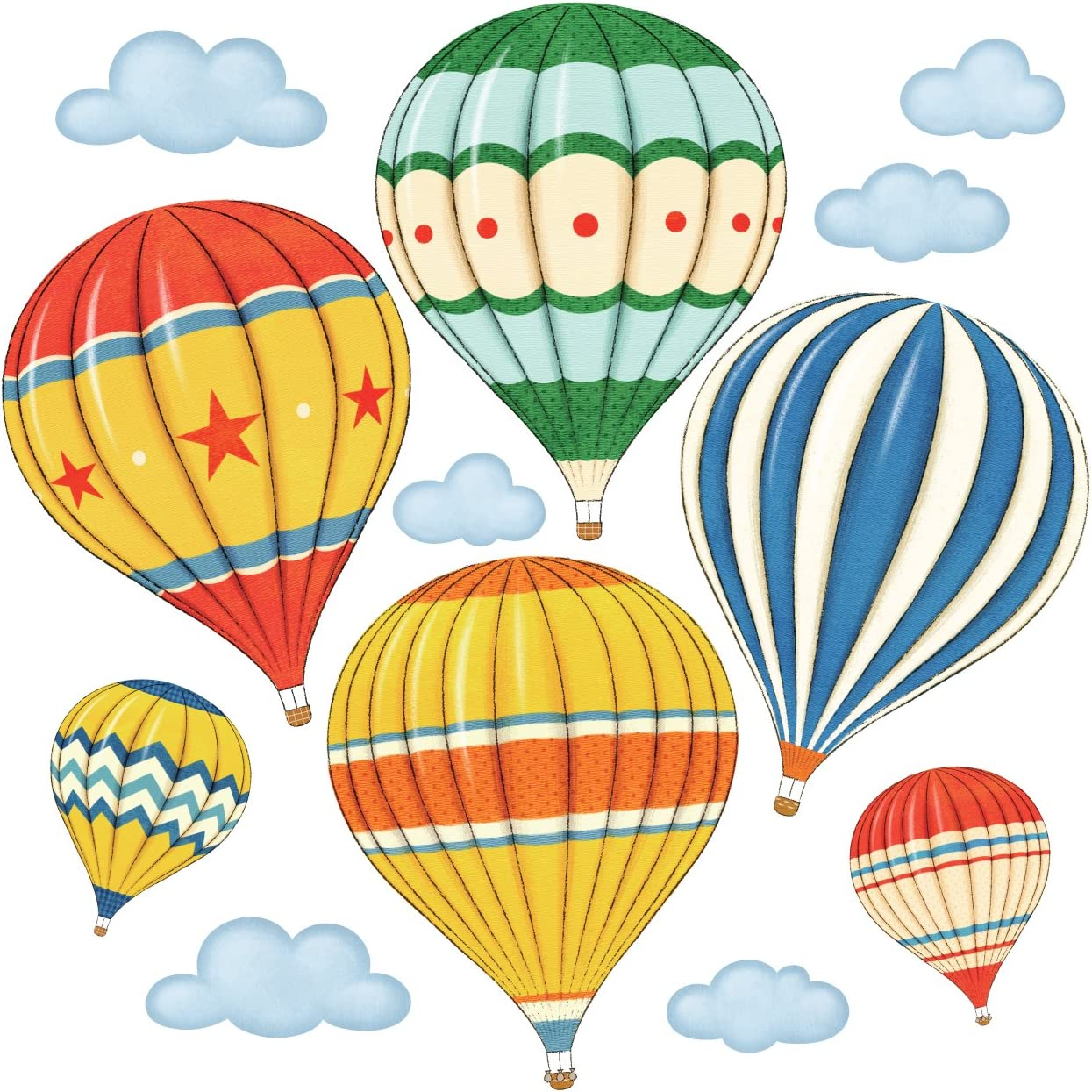 DECOWALL DS-8011 Colourful Hot Air Balloons Kids Wall Stickers Wall Decals Peel and Stick Removable Wall Stickers for Kids Nursery Bedroom Living Room (Small)