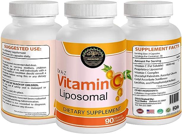 Dr A-Z Liposomal Vitamin C Immune Defense, Support - 1800mg Supplement - Ascorbic Acid Capsules - High Absorption VIT C Pills - Boosts Immune, Collagen Health - Non-GMO, Soy Free