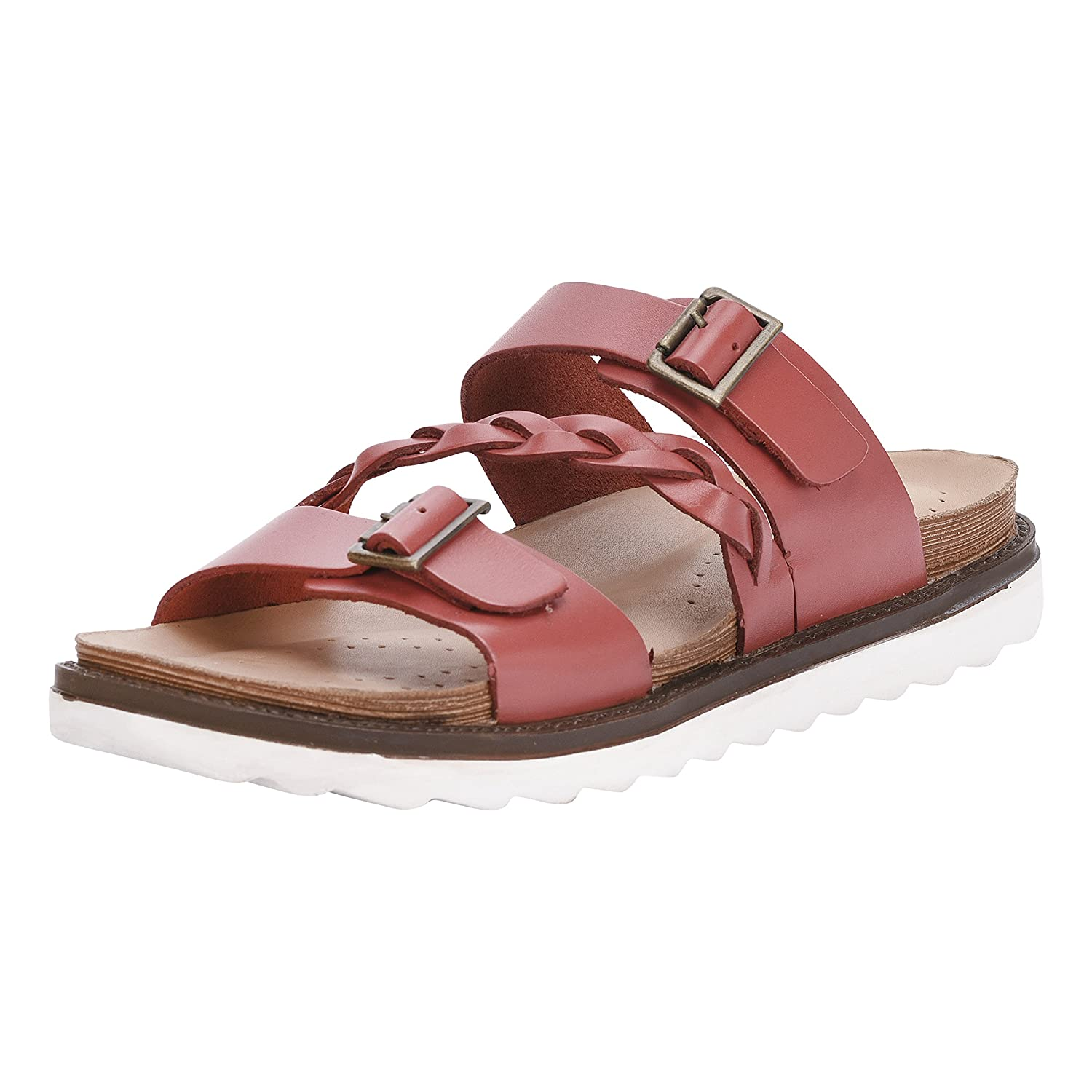 Liberty Women's Leather Slide On Sandals Double Strap Buckle Braided Platforms B07BWN6Q9Z 10 M US|Red Garnet