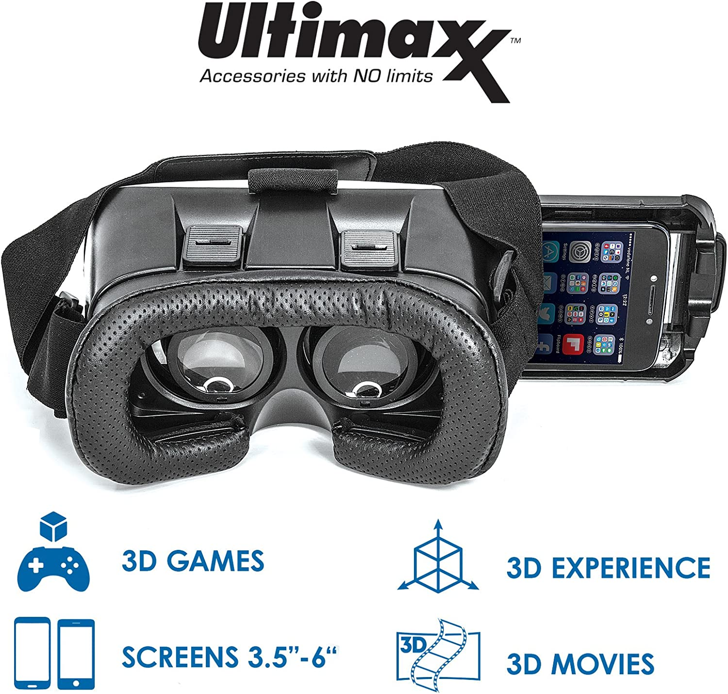 Samsung Galaxy and Other 4-6.3 Inch Smartphones Ultimaxx 3D VR Glasses Virtual Reality Headset Lightweight Portable 3D Video//Game VR Box for iPhone