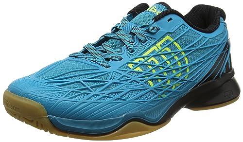 Wilson Kaos Indoor Enamel, Scarpe da Tennis Uomo, Blu (Enamel Blue/Black/Safety Yellow), 41 1/3 EU