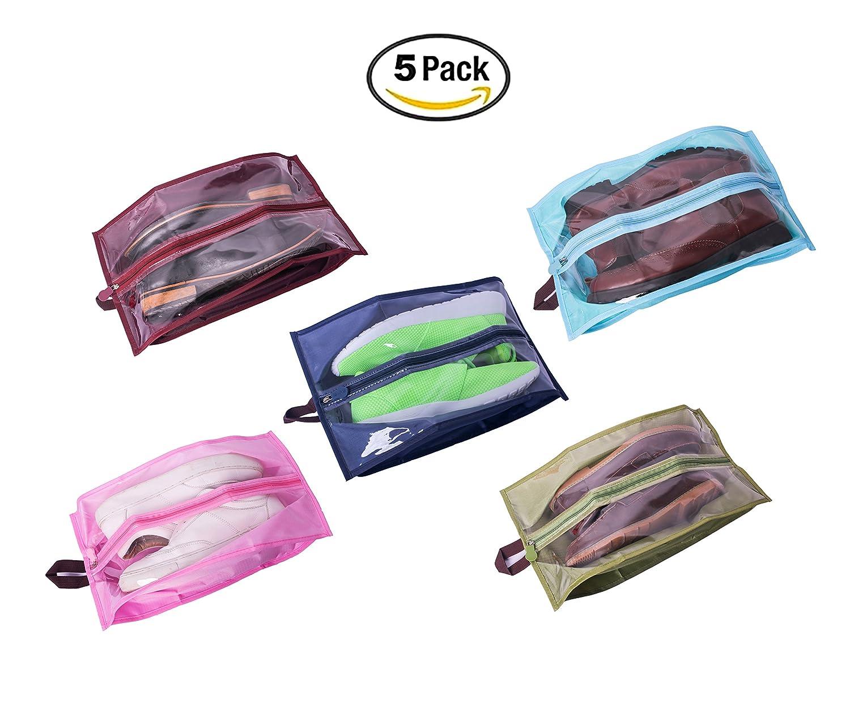 9bcab2b78ada FISHSHOP Shoe Bag Shoe Storage Portable Travel Shoes Organizer Bags Set of  5 Dust-proof Breathable Travel Transparent Window Space Saving Shoes ...
