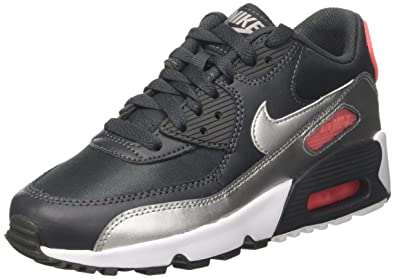 NIKE Air Max 90 Mesh (GS), Sneakers Basses Garçon, Noir (Anthracite